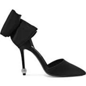Crystal Ball D'orsay Satin Pump Bow Heels